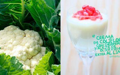 Crema de coliflor con granada y AOVE (Aceite de oliva virgen extra) al limón